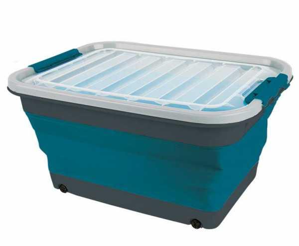 Aufbewahrungsbox 45l faltbar mit Deckel u.Rollen 61 x 45 x 10 / 30,4cm