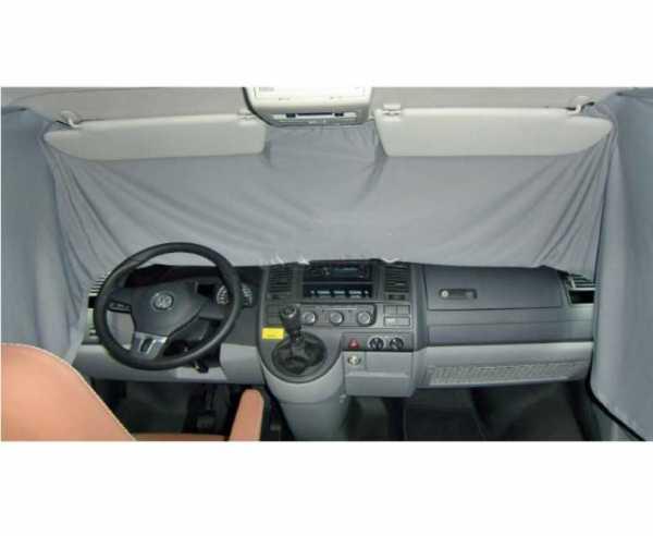 VW T6/5 Fahrerhaus Sichtschutz-Gardine grau einlagig 1-teilig